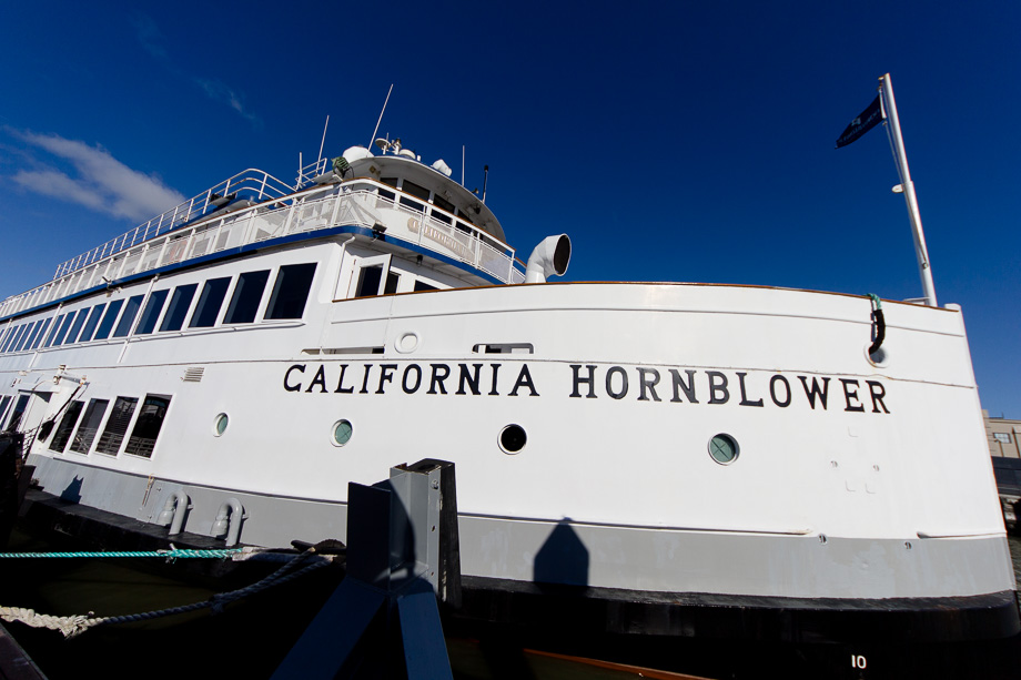 California Hornblower cruise ship docked at Pier 3 before boarding of the wedding party
