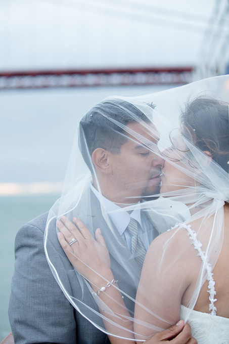 Bride and groom kissing under veil in front of the Golden Gate Bridge