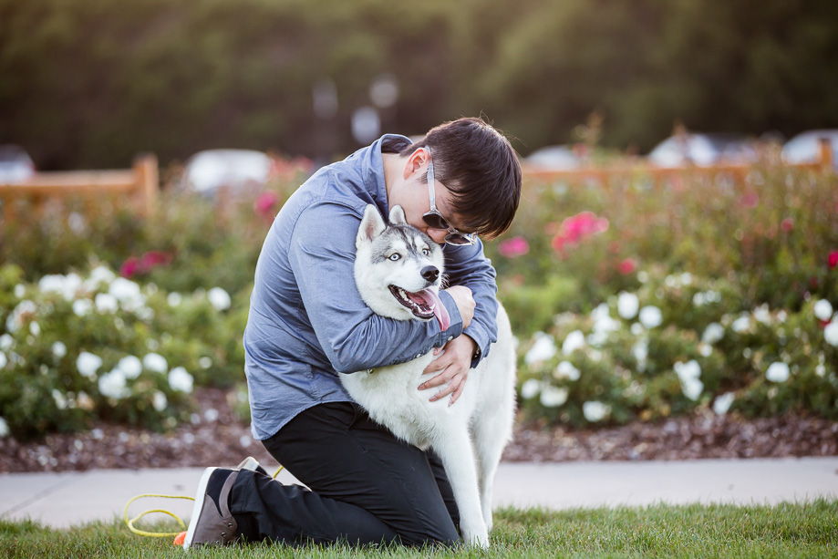 puppy love with the owner at Stanford University