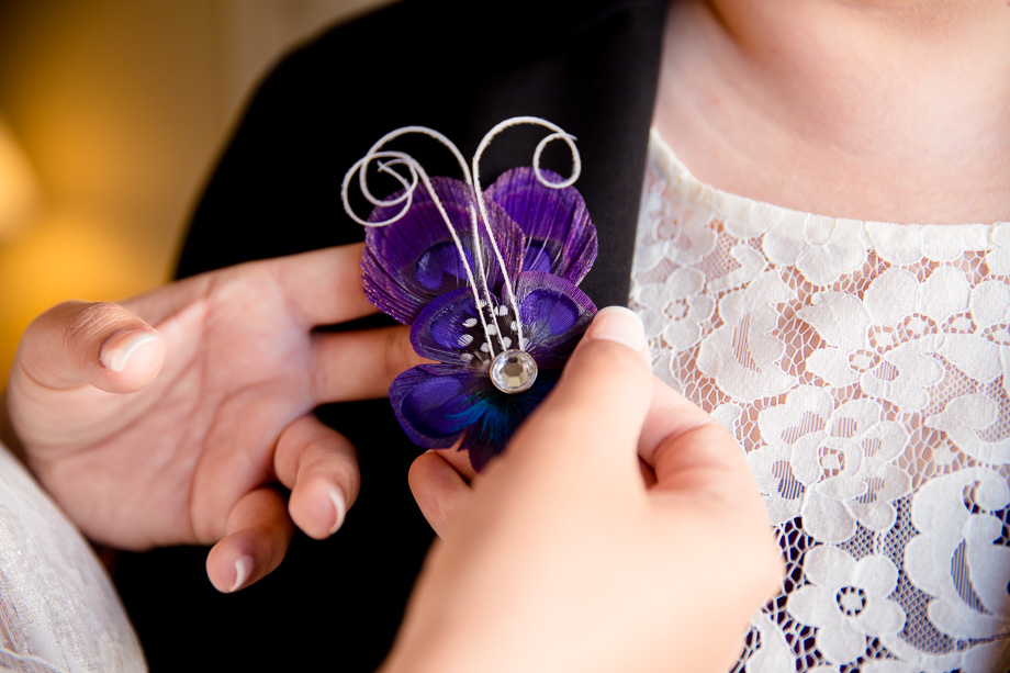 The purple feather boutonniere