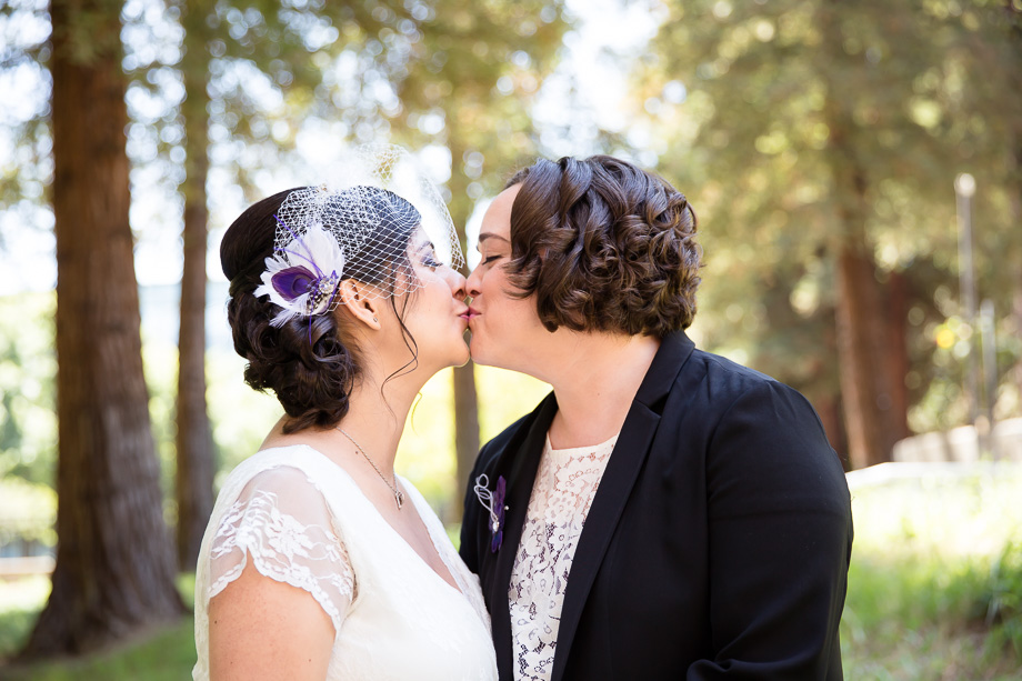 Kissing after being officially married! A beautiful lesbian wedding