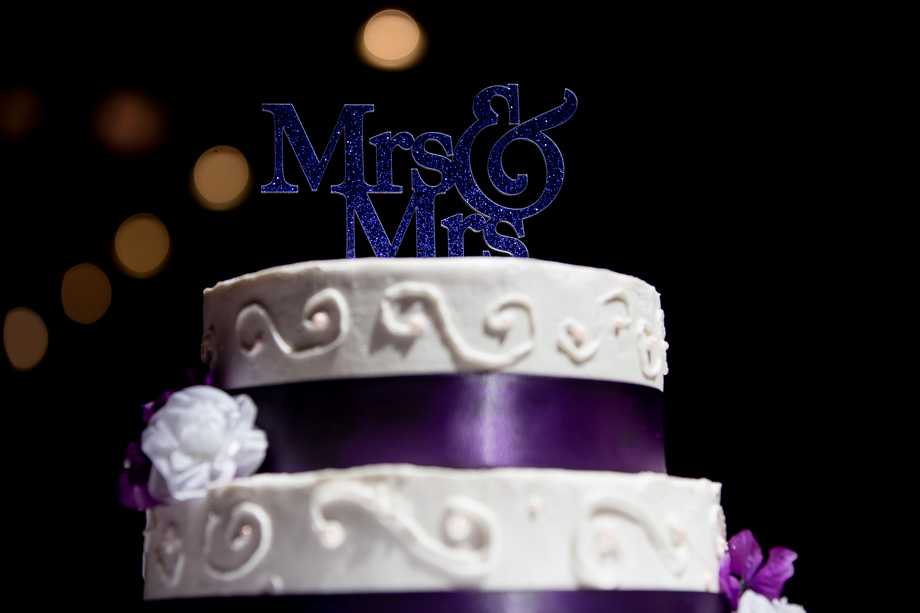 Purple Mrs & Mrs glitter cake topper
