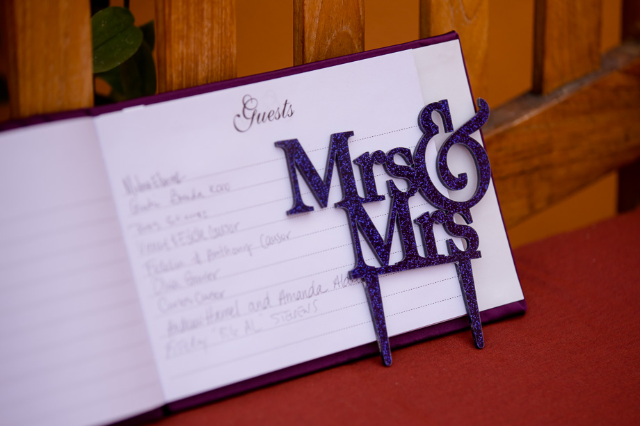 Mrs & Mrs cake topper with guest book