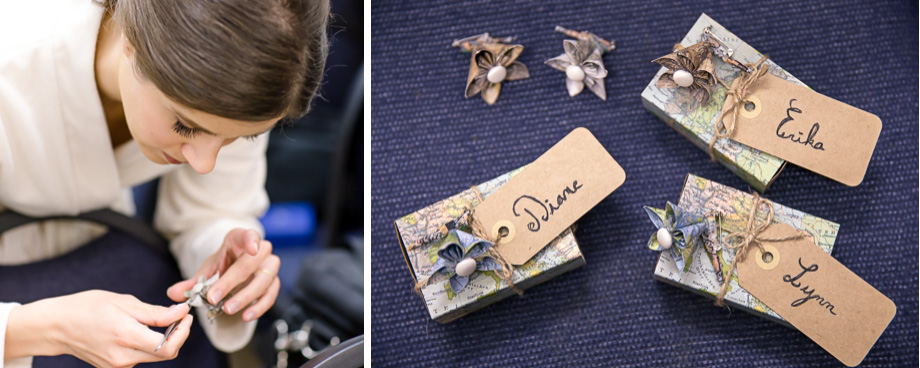 DIY origami boutonniere and guest favors made by the bride