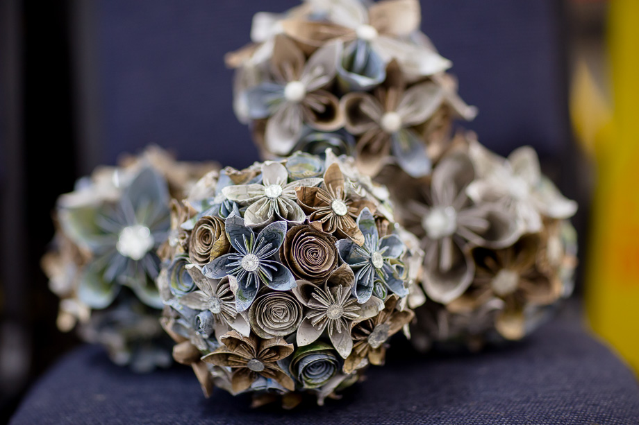 DIY origami bouquet handmade by the bride - navy and grey