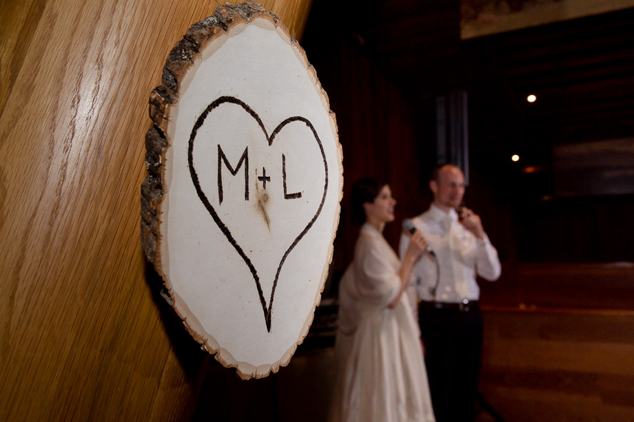 Personalized details - wooden hanging sign that writes bride and grooms initials