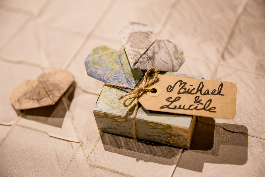 Travel themed guest favors handmade by the bride