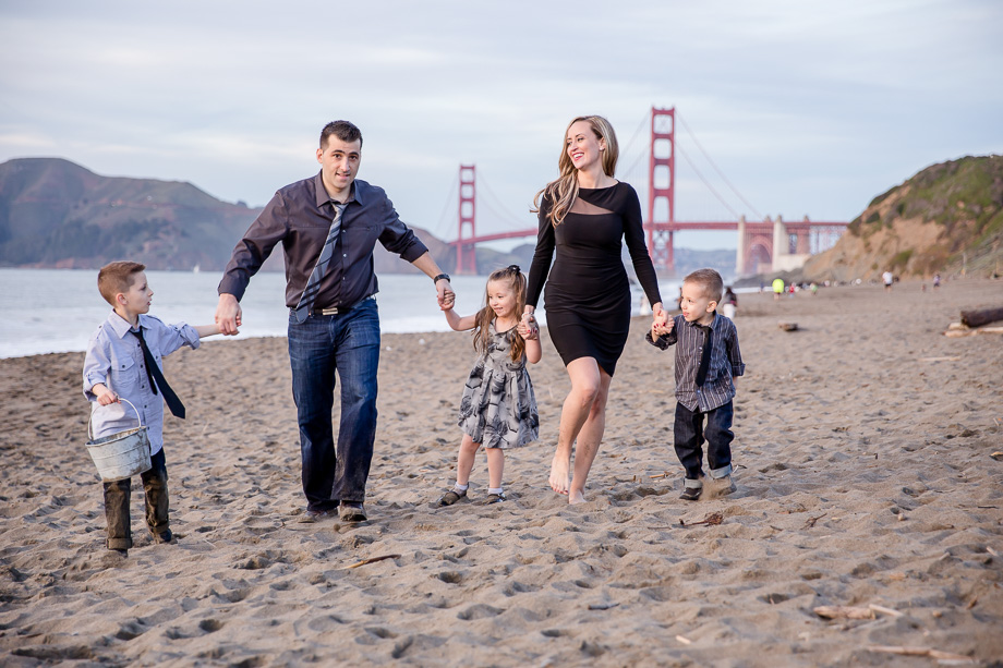 a family of five at baker beach