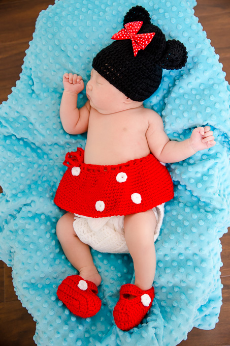 cute newborn photo in a minnie mouse costume