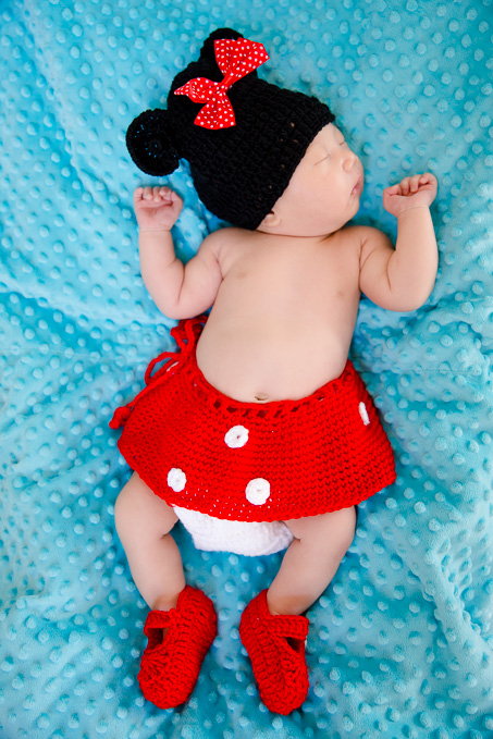 cute little one month Minnie mouse newborn photo