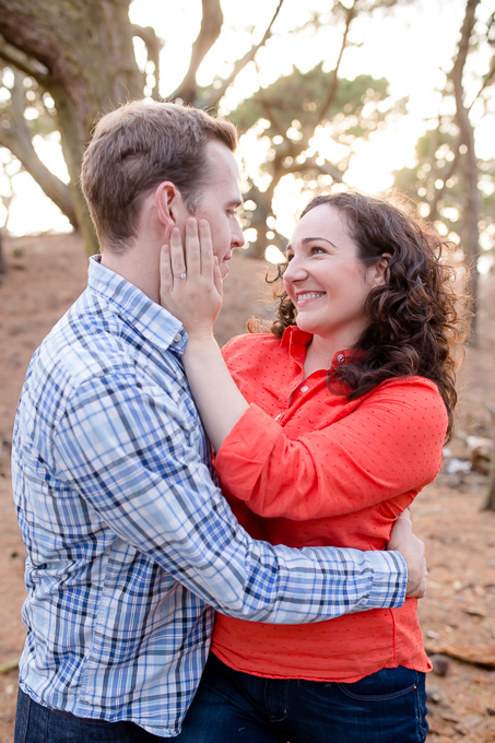 couple portrait with gorgeous backlighting at baker beach