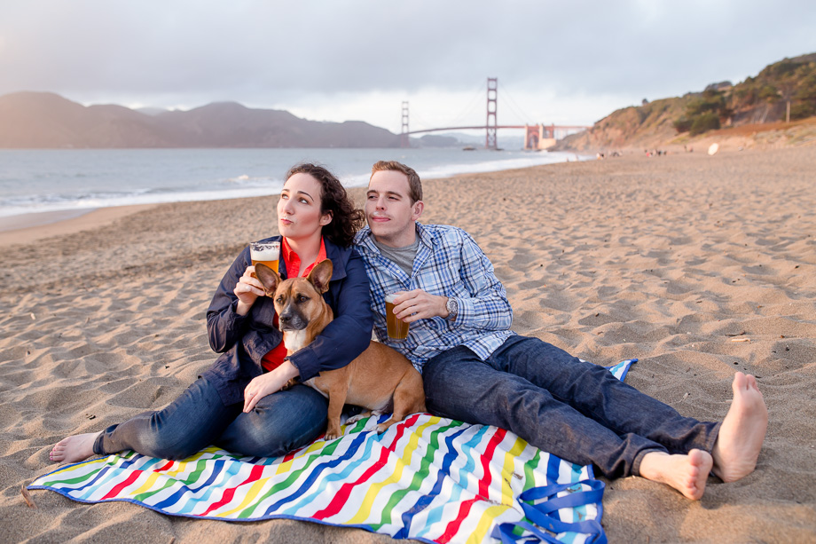 cute baker beach engagment photo with pet