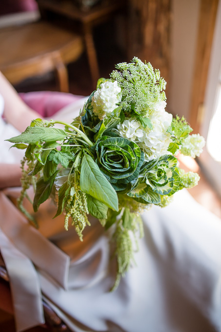 a unique DIY white and green bouquet