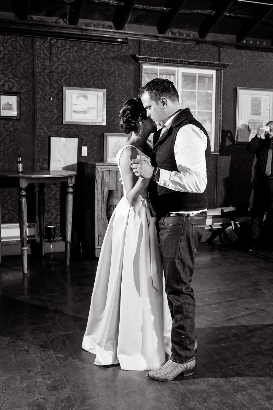 bride and grooms romantic first dance at long branch barn