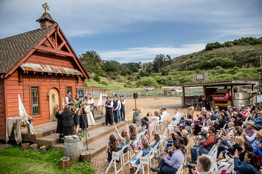 beautiful rustic barn wedding ceremony outside long branch chapel, half moon bay