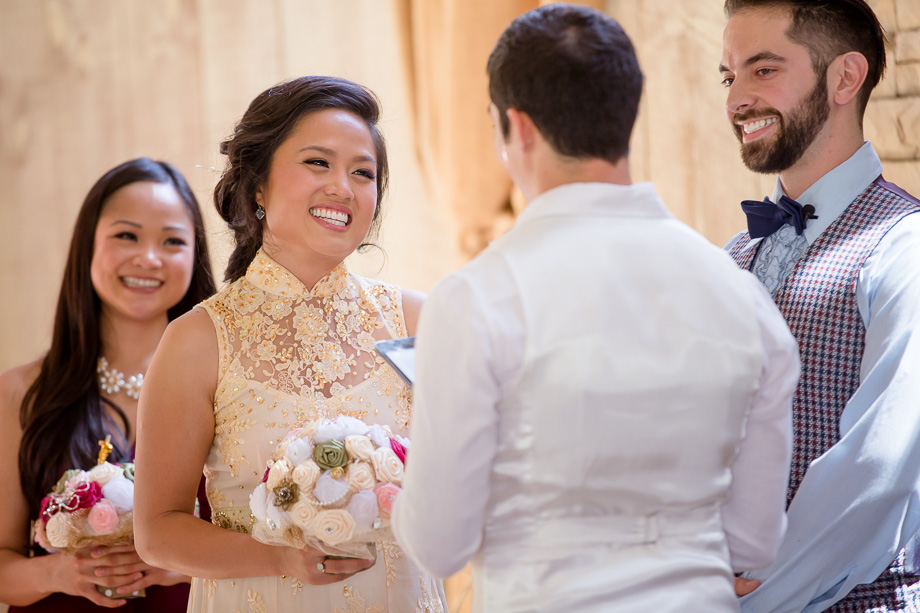 beautiful smile on brides face at the wedding ceremony