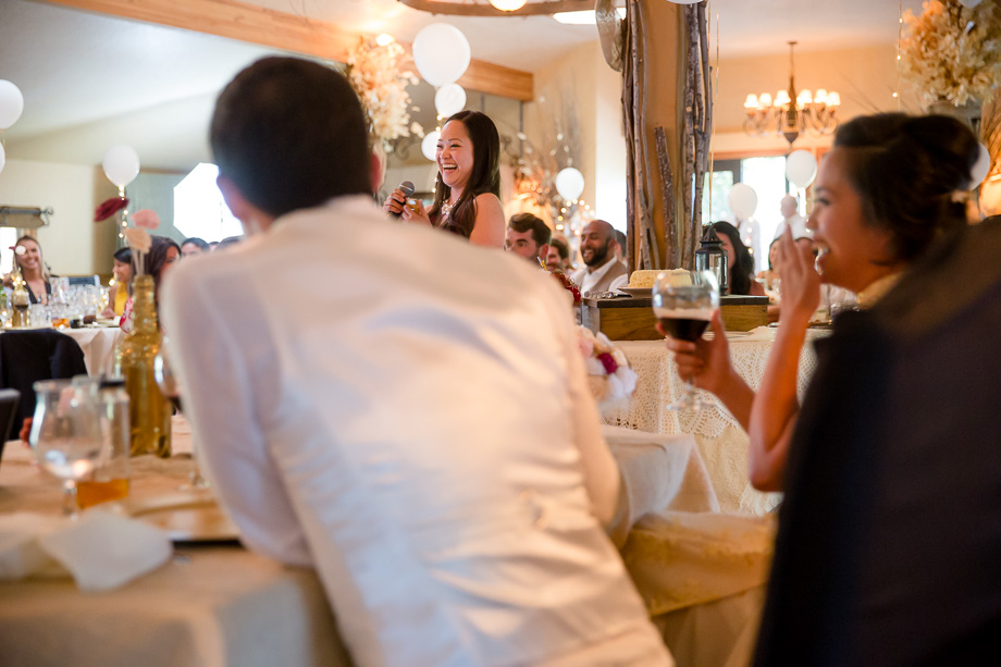 bridesmaid giving a hilarious toast