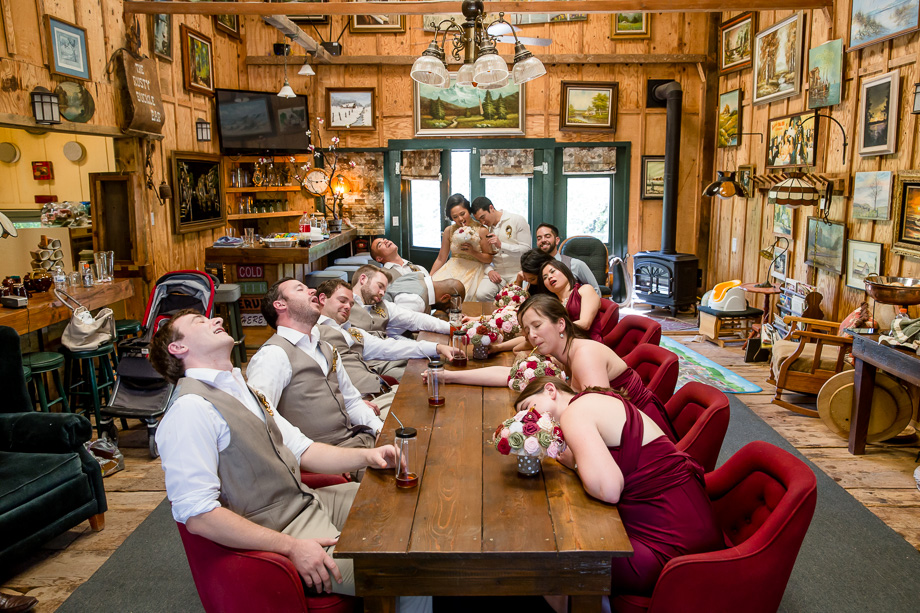 funny wedding party photo idea - getting drunk in the bar at Union Hill Inn