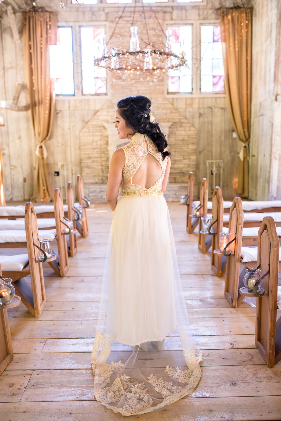 wedding at Union Hill Inn chapel - beautiful wedding dress with a lace train with Vietnamese gold accents, designed by bride herself
