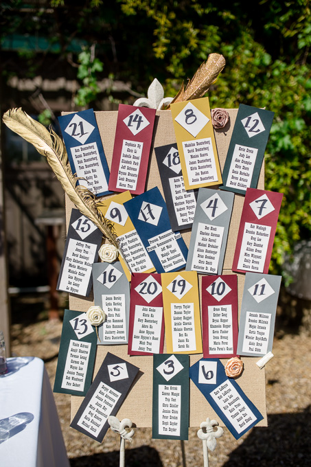 DIY table seating chart for wedding reception