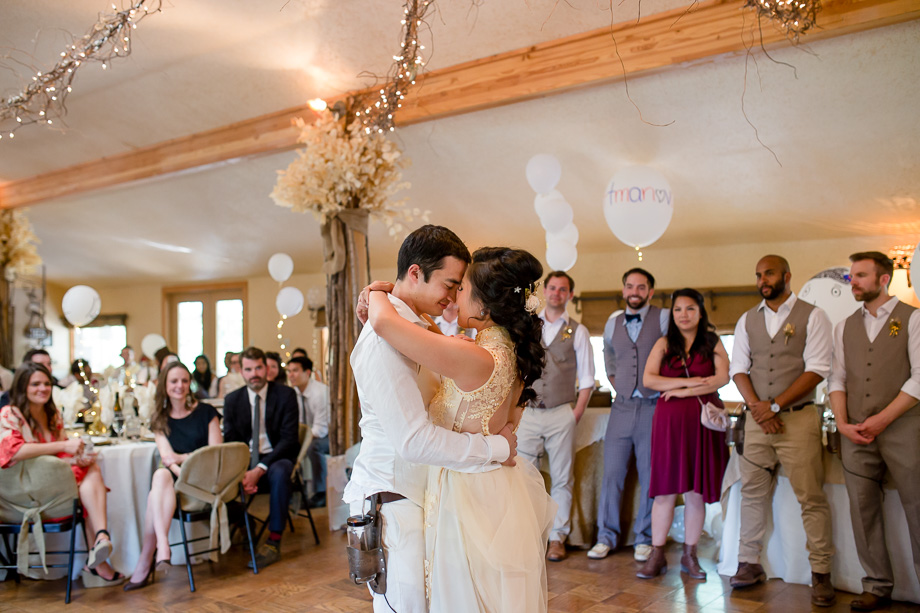 bride and groom enjoying their first dance