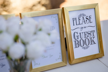 gold guest book sign