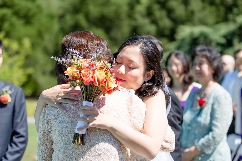 a hug with mother at the wedding ceremony
