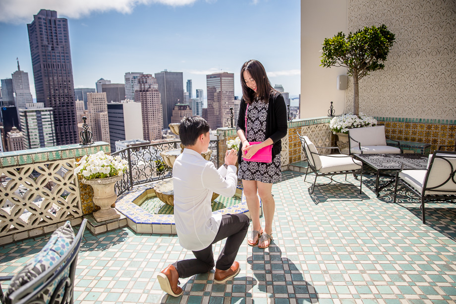 SF rooftop proposal at Fairmont hotel