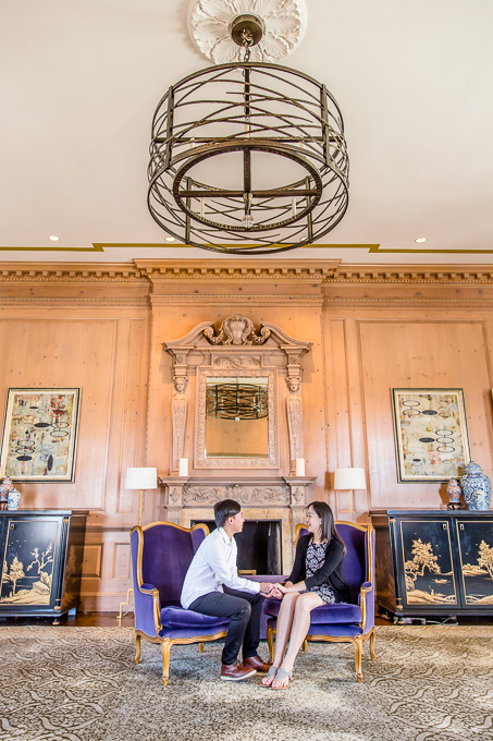 engagement photo inside the grand presidential penthouse suite at Fairmont San Francisco