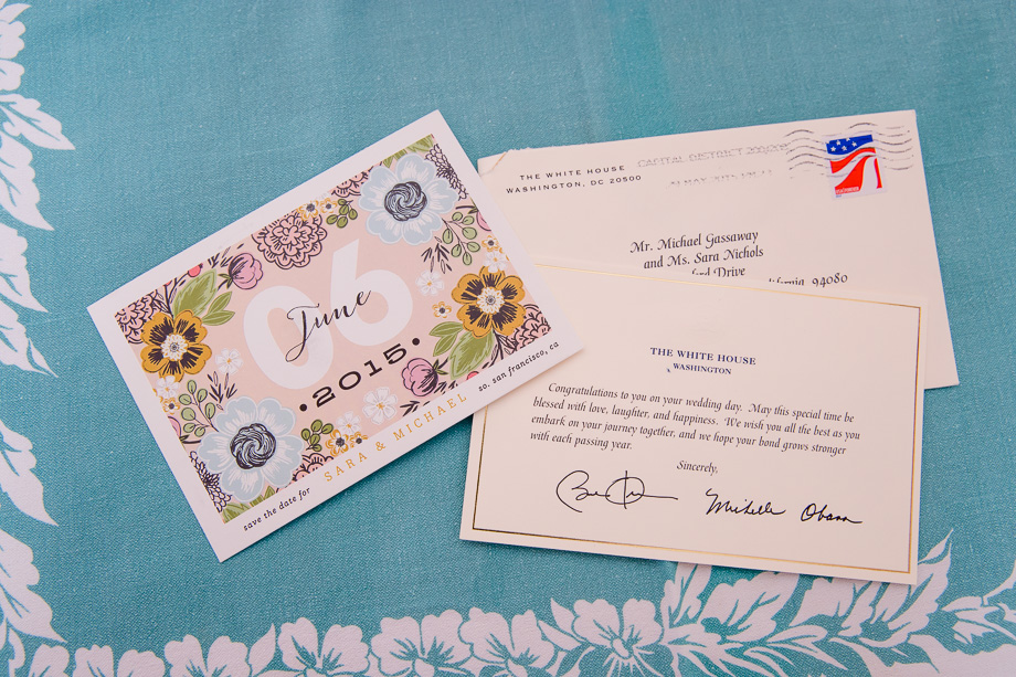 A letter from the white house to the bride and groom
