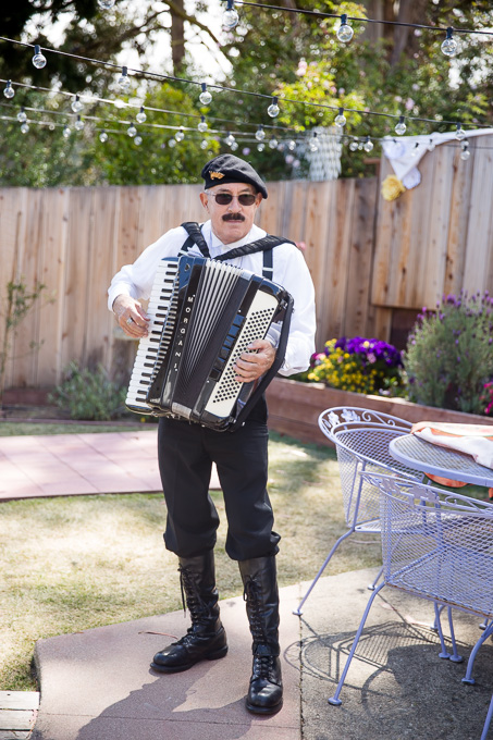 Musician playing accordion at the wedding ceremony