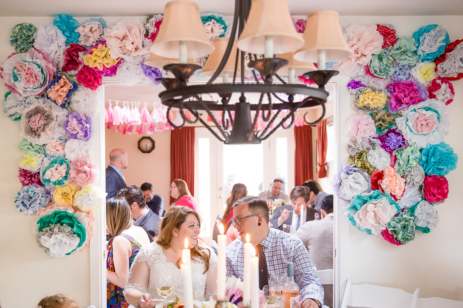 DIY flower arch wall for newlyweds head table