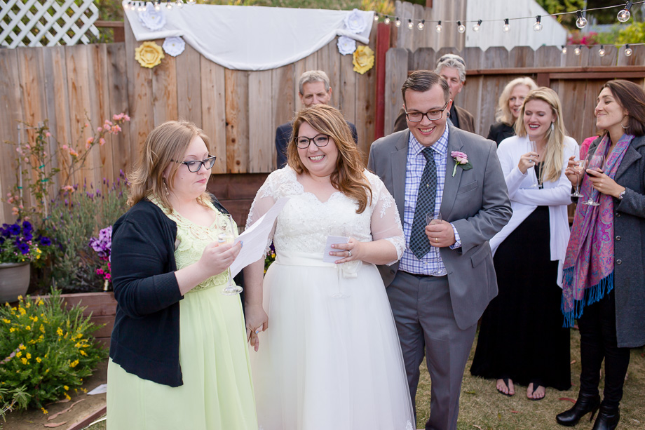 bridesmaid giving a touching toast