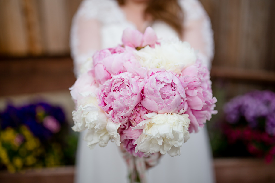 dreamy pink and cream peony bridal bouquet