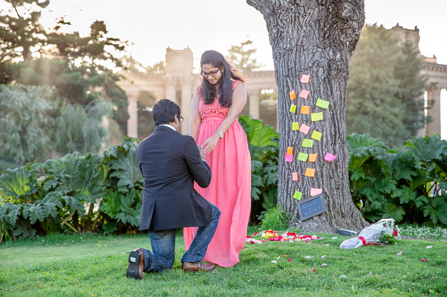 surprise proposal photo at Palace of Fine Arts