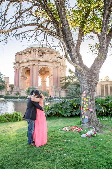 Palace of Fine Arts is one of the most popular spots for marriage proposals in San Francisco