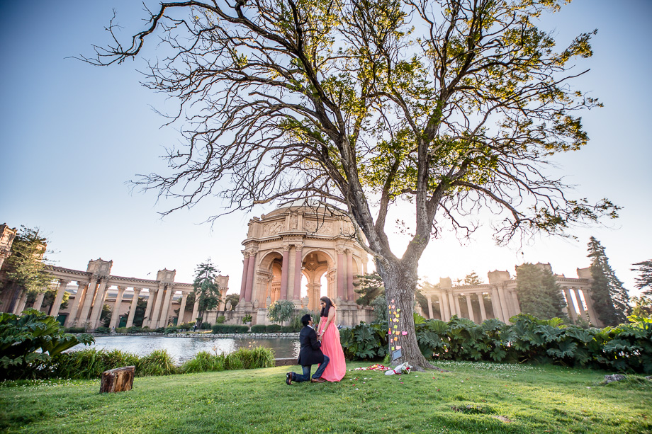 beautiful and romantic surprise marriage proposal photo at Palace of Fine Arts