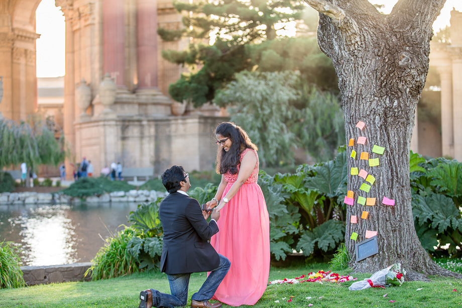 surprise engagement photo at Palace of Fine Arts