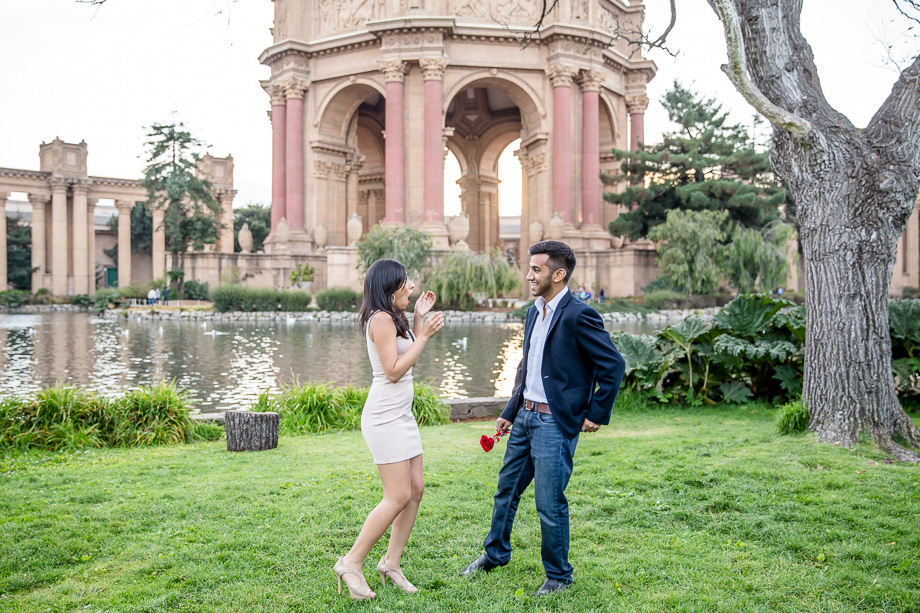 completely in shock - San Francisco Palace of Fine Arts Surprise Proposal Photography