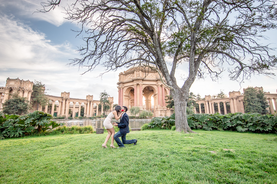 romantic palace of fine arts surprise marriage proposal - san francisco proposal photographer