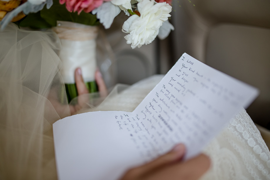 hand written wedding vows