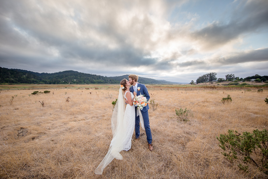 stunning rustic California Point Reyes wedding - sheath lace wedding gown with ivory chapel length veil in an open field