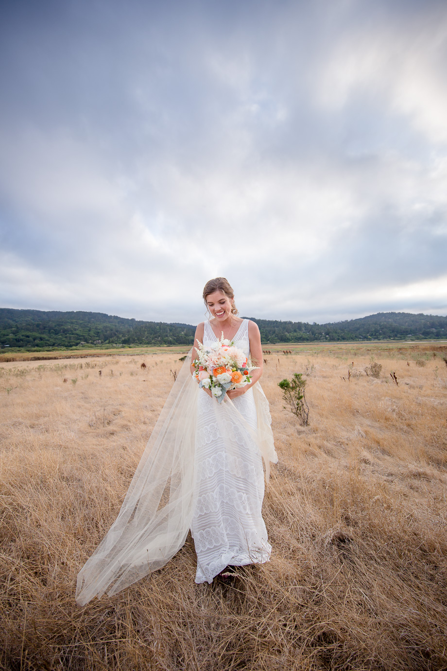 lush wedding bouquet, romantic sheath lace wedding gown with ivory chapel length veil - California Point Reyes Station wedding photographer