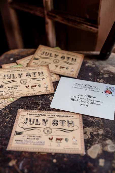 rustic farm themed wedding invitation