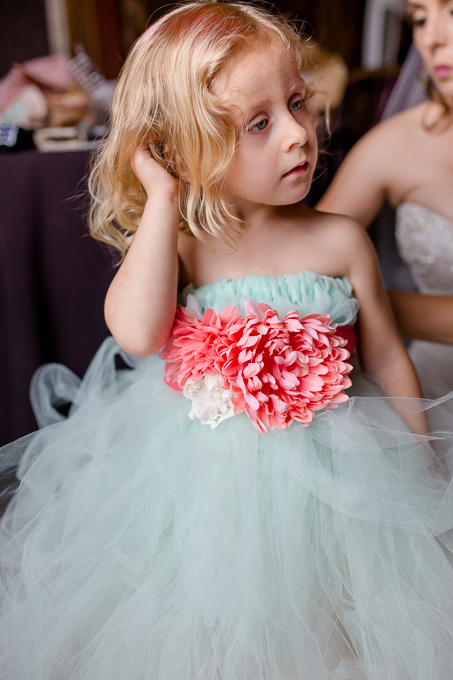 blue tulle flower girl dress made by the bride