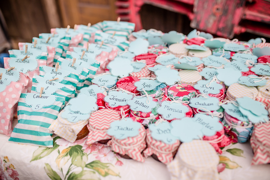 pink and baby blue homemade jam and cookies DIY wedding favor idea