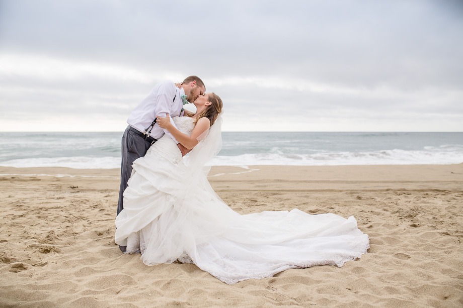 half moon bay beach wedding photo