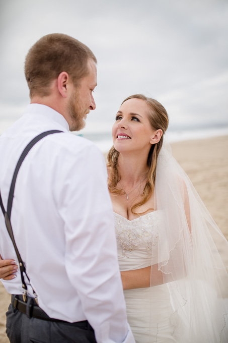 romantic and soft beach wedding photo in half moon bay