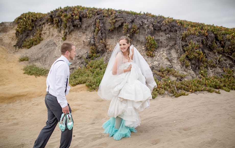 adorable wedding photo on a rocky beach in half moon bay