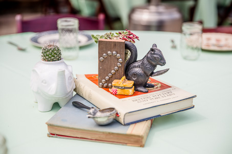 DIY vintage and rustic centerpiece - squirrel, elephant, and old books